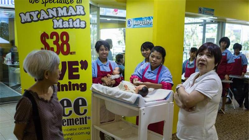 Maids being sold in Singapore malls